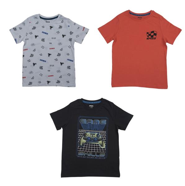 تصویر ست سه تایی تیشرت طرحدار نخی آستین کوتاه بچگانه پسرانه برند MAX مدل SS21STR04TB